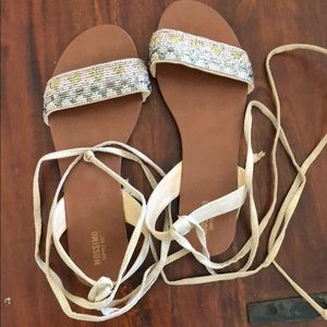 Beaded Mossimo lace up sandals